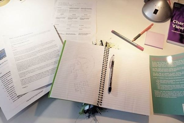 A writer's artfully messy desk.